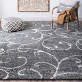 Benji Gray 4x6 Shag Rectangle Area Rug for Dorm, Kids, Baby, or Nursery Room - Transitional, Floral
