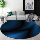 RUGSMAT Navy Blue Round Area Rug Carpet,Deep in The Majestic Ocean Themed Dark Blue Colored Design with Reflections Image Living Dinning Room and Bedroom Rugs,Diameter-59 Inch Dark Blue