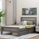 Harper & Bright Designs Twin Bed Frame,Twin Platform Bed Frame with Storage Drawers and Headboard, Wood Bed Frame Twin for Toddlers, Kids, Guest Room,no Box Spring Needed (Gray with Drawers)