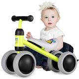 Birtech Baby Balance Bike for 2,3 Year Old Boys Girls, Toddler Baby Bike Indoor Outdoor Toys No Pedal 4 Wheels, Ride On Toys for 18-36 Months, Yellow