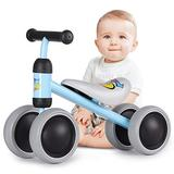 Birtech Baby Balance Bike for 2,3 Year Old Boys Girls, Toddler Baby Bike Indoor Outdoor Toys No Pedal 4 Wheels, Ride On Toys for 18-36 Months, Blue