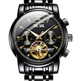 Swiss Automatic Watches for Men OLEVS Classic Black Dial Mechanical Mens Watches Tourbillon Skeleton Watches Waterproof Stainless Steel Self Winding Wrist Watch with Day-Date Luminous