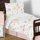 Sweet Jojo Designs Watercolor 5 Piece Toddler Bedding Set Polyester in Gray/Pink/Yellow | Wayfair WatercolorFloral-YW-PK-Tod