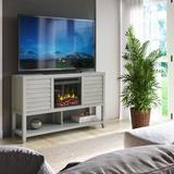 """Laurel Foundry Modern Farmhouse® Abou TV Stand for TVs up to 60"""" w/ Electric Fireplace Included Wood in Gray, Size 34.0 H x 54.0 W x 15.5 D in"""