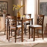 Lark Manor™ Rickey 5 - Piece Counter Height Pub SetWood/Upholstered Chairs in Brown, Size 36.0 H x 35.4 W x 35.4 D in | Wayfair