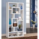 "Latitude Run® Germya 70.75"" H x 35.5"" W Geometric Bookcase Wood in White, Size 70.75 H x 35.5 W x 11.5 D in   Wayfair"