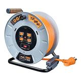 Masterplug Heavy Duty Metal Cord Reel with 4-120V 15amp Integrated Outlets and 12 Gauge High Visibility Cord (75ft)