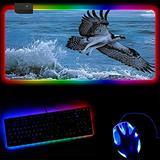 Gaming Mouse Pads Seaside Animals RGB Mouse Pad Luminous Mousepad Gaming Led Lighting Mouse Mat Pc Laptop Desktop Computer Accessories-30X80X0.4Cm