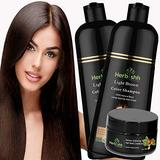 Combo Pack-2pcs Herbishh Hair Color Shampoo for Gray Hair+ 1pc Argan Intense Hair Mask- Natural Hair Dye Shampoo – Colors Hair in Minutes – Long-lasting color– 500 Ml –Stimulates Dry Frizzy Hair (Light Brown)