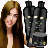Combo Pack-2pcs Herbishh Hair Color Shampoo for Gray Hair+ 1pc Argan Intense Hair Mask- Natural Hair Dye Shampoo – Colors Hair in Minutes – Long-lasting color– 500 Ml –Stimulates Dry Frizzy Hair (Gold)