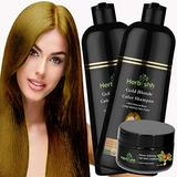 Combo Pack-2pcs Herbishh Hair Color Shampoo for Gray Hair+ 1pc Argan Intense Hair Mask- Natural Hair Dye Shampoo – Colors Hair in Minutes – Long-lasting color– 500 Ml –Stimulates Dry Frizzy Hair (Gold Blonde)