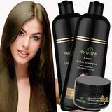 Combo Pack-2pcs Herbishh Hair Color Shampoo for Gray Hair+ 1pc Argan Intense Hair Mask- Natural Hair Dye Shampoo – Colors Hair in Minutes – Long-lasting color– 500 Ml –Stimulates Dry Frizzy Hair (Linen)
