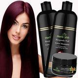 Combo Pack-2pcs Herbishh Hair Color Shampoo for Gray Hair+ 1pc Argan Intense Hair Mask- Natural Hair Dye Shampoo – Colors Hair in Minutes – Long-lasting color– 500 Ml –Stimulates Dry Frizzy Hair (Burgundy)