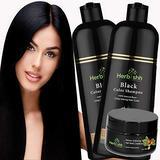 Combo Pack-2pcs Herbishh Hair Color Shampoo for Gray Hair+ 1pc Argan Intense Hair Mask- Natural Hair Dye Shampoo – Colors Hair in Minutes – Long-lasting color– 500 Ml –Stimulates Dry Frizzy Hair (Black)