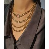 IngeSight.Z Women's Necklaces Gold - Rhinestone & Goldtone Curb Chain Layered Necklace
