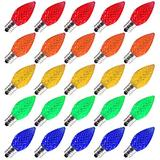50 Pack C7 Led Replacement Christmas Light Bulb, C7 Shatterproof Led Bulbs for Christmas String Lights, E12 Candelabra Base, Commercial Grade Dimmable Holiday Bulbs, Multicolor