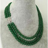 """Necklaces Pendants, 3 Rows Natural 6Mm Round Green Jade Emerald Gemstone Beaded Necklace 17-19"""""""