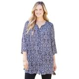 Plus Size Women's Georgette Palm Leaf Buttonfront Tunic Top by Catherines in Black White Print (Size 3X)