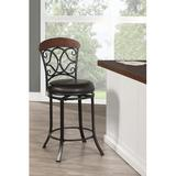 Fleur De Lis Living Ocampo Bar & Counter StoolWood/Upholstered/Leather/Faux leather in Black/Brown, Size 41.5 H x 24.0 W x 24.0 D in | Wayfair