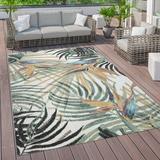 Beachcrest Home™ Alina Floral Green Indoor/Outdoor Area Rug Polypropylene in White, Size 47.0 W x 0.12 D in | Wayfair