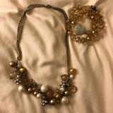 J. Crew Jewelry | Champagne And Pearl Necklace Set | Color: Cream | Size: Os