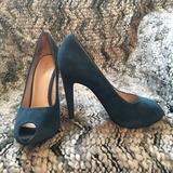 Nine West Shoes | Nine West Genuine Leather Teal High Heels 7 12 | Color: Blue | Size: 7.5