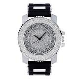 Mens Iced Out 46mm Shiny Silver Tone Watch with Simulated Lab Diamonds and Flooded Dial and 3-Row Diamond Bezel - Roman Index Dial - Adjustable Silicon Band Strap - Quartz Movement