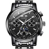Black Dial Automatic Watches for Men Mechanical Watch Men Self Winding Stainless Steel Big Man Watch Day Date Tourbillon Swiss Wristwatch Mens OLEVS No Battery Watch Man Diver Luxury Relojes Hombre