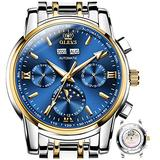 Blue Mechanical Men Watch Automatic Watch For Men Day Date Stainless Steel Two Tone Mens Watches Self Winding Waterproof Automatic Movement Watches Man No Battery Luminous Swiss Big Dress Wristwatches