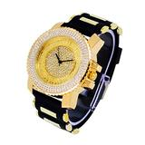 Mens Iced Out 46mm 18k Gold Tone Watch with Simulated Lab Diamonds and Flooded Dial and 3-Row Diamond Bezel - Roman Index Dial - Adjustable Silicon Band Strap - Quartz Movement