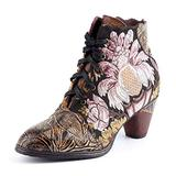 Women's Ankle Boots Winter Outdoor Snow Boots Shoes Handmade Splicing Ladies Leather Low Chunky Block Heels Boot Round Toe Fur Lined Warm Boots Lace Up Zipper Walking Wedding Party Boots Black 11