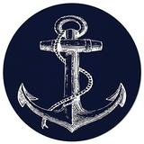 Round Area Rugs 6 ft Nautical Navy Blue Anchor Soft Floor Carpets Indoors/Outdoor Living Room/Bedroom/Children Playroom/Kitchen Mats Non Slip Yoga Carpets