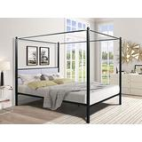 lambery Queen Size Canopy Metal Bed Frame, 4 Post, Upholstered Headboard, Bed of Metal Slat Mattress Support, No Box Spring Needed, Black