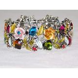 Silver Multicolor Flower,Heart Flexible Cuff Bracelet Enamel, Rhinestone Fashion Jewelry for Women Man