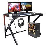 Cirstore Gaming Computer Desk 46 Inch K Shaped PC Gaming Desk with Headset Hook Cup Holder, Ergonomic Desktop Computer Desk for Home Office Workstation,Black