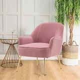 SSLine Velvet Accent Chair,Modern Upholstered Leisure Arm Chair with Gold Metal Legs,Thickly Padded,Guest Chair Vanity Chair Club Chairs for Living Room Bedroom Office (Pink)