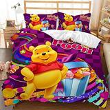 Kids Bedding Set Queen Winnie Piglet Duvet Cover Set Bed Sets,Girls Boys Bedding Winnie Family Bedding Queen 3Piece Duvet Cover Set Bedsets Bedding Cover