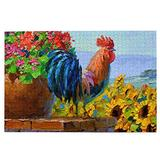 NiYoung 1000 Pieces Jigsaw Puzzle Large Puzzle Game Fun Family Puzzles Game Unique Jigsaw Back to School Gift (Happy Rooster Sunflower)