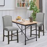 Lark Manor™ Quinton Set Of 2 Fabric Barstools Nail Head Trim Counter Height Dining Side Chairs Grey Wood/Upholstered in Gray   Wayfair