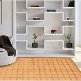 Latitude Run® Gunnels Checkered Hand-Knotted Wool Tan Area RugWool in White, Size 102.0 H x 65.0 W x 0.5 D in   Wayfair