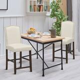 Lark Manor™ Quinton Set Of 2 Fabric Barstools Nail Head Trim Counter Height Dining Side Chairs Grey Wood/Upholstered in Brown   Wayfair