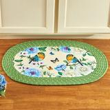 Winston Porter Oval Kathrina Braided Green/Area Rug Polyester in Blue, Size 30.0 H x 20.0 W x 0.25 D in   Wayfair E5EF698A355F4E948BB25E788BD86F0B