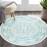 HEBE 4 Ft Round Area Rug Washable Chic Bohemian Mandala Area Rugs Hand Woven Printed Tassel Cotton Rugs Indoor Circle Carpet Throw Rug for Living Room Kids Room
