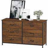 Hasuit 6 Drawer Double Dresser, Accent Storage Tower Clothes Organizer, Sturdy Steel Frame, Large Storage Cabinet for Bedroom, Hallway, Entryway (Walnut)