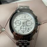 Michael Kors Accessories | Mk White Dial Stainless Steel Chronograph Watch | Color: Silver | Size: Os
