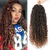 Lihui New Goddess Locs Crochet Hair For Black Women Faux Locks Crochet Hair With Curly Hair In Middle And Ends Curly Crochet Faux Locks Hair Extensions (18inch(6-PACKS), #1B/30)