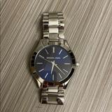 Michael Kors Accessories | Michael Kors Silver Watch With Navy Blue Face | Color: Blue/Silver | Size: Os