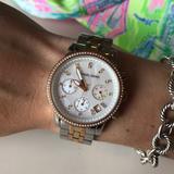 Michael Kors Accessories   Michael Kors Womens Quartz Chronograph Watch   Color: Gold/Silver   Size: 8.5 Inch Bracelet, 36mm Watch Face