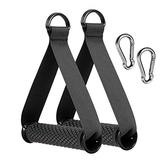 2pcs Heavy Duty Band Handles with Strong Carabiners,Upgraded Resistance Band Handle,Replacement Fitness Equipment for Pilates,Yoga,Strength Trainer (Black)