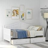 Twin Daybed with 2 Drawers, Wooden Storage Bed Frame, Daybed with Storage, White